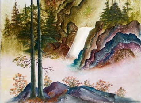 Oriental Falls Oil Painting
